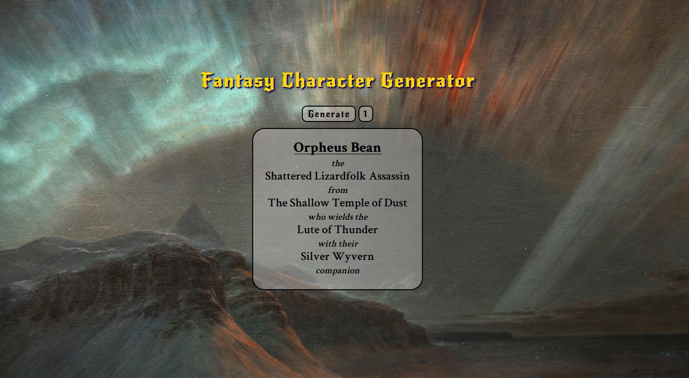 Fantasy Character Generator